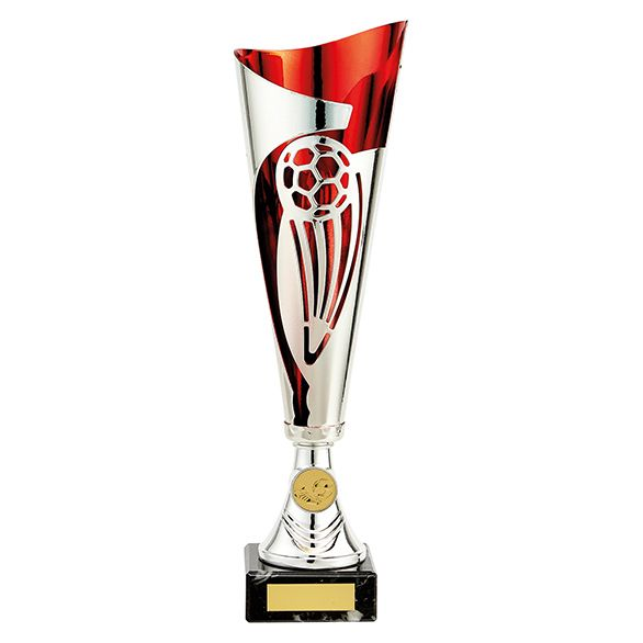 Champions Football Cup Silver & Red 340mm