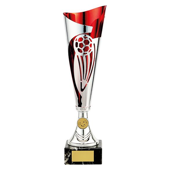 Champions Football Cup Silver & Red 360mm