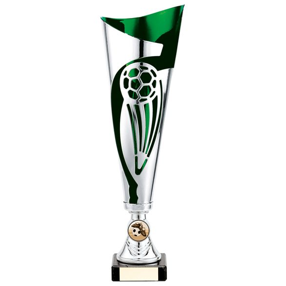 Champions Football Cup Silver & Green 325mm