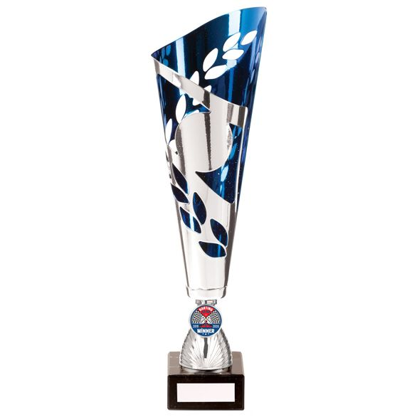 Zues Lazer Cut Metal Cup Silver & Blue 340mm