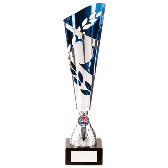 Zues Lazer Cut Metal Cup Silver & Blue 370mm